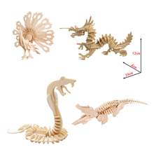 3D Wooden Animal Puzzles Crocodile Peacock Sword Dragon Snake Toys DIY Coloring Handmade Educational Toys For