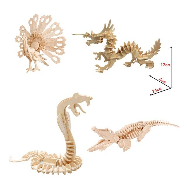 3d de madeira quebra-cabeças de animais crocodilo pavão espada dragão cobra brinquedos diy coloração artesanal brinquedos educativos para crianças presentes miúdo