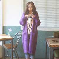 2017 Winter Sweater Knit Cardigan Loose Coarse Needle The Long Thick Coat Female purple and coffee two colors with knit scarf