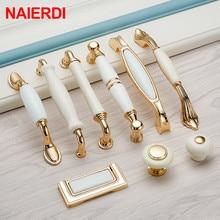 NAIERDI золотые белые Creamic ручки для шкафа, круглая ручка для выдвижных ящиков, кухонные дверные ручки, Мебельная ручка, дверная фурнитура для шкафа