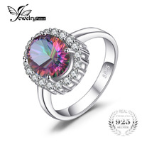 3ct Natural Mystic Fire Rainbow Topaz Engagement Wedding Ring Women Solid Genuine 925 Sterling Silver 2015