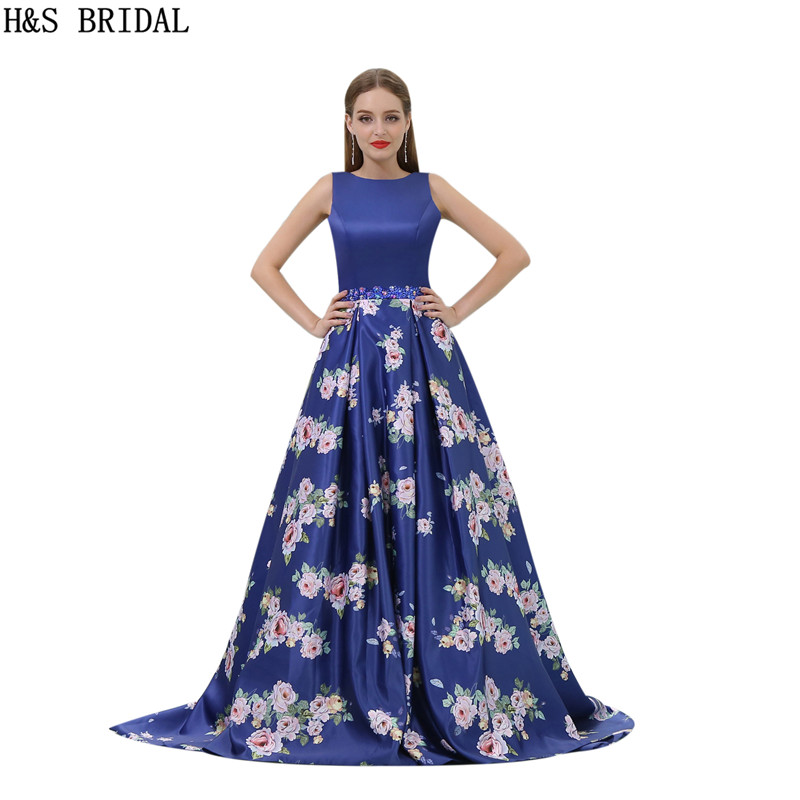 H&S BRIDAL Elegant casamento O Neck Navy Blue Prom Dresses Beaded Waist line long dresses for prom Sexy Backless vestido longo