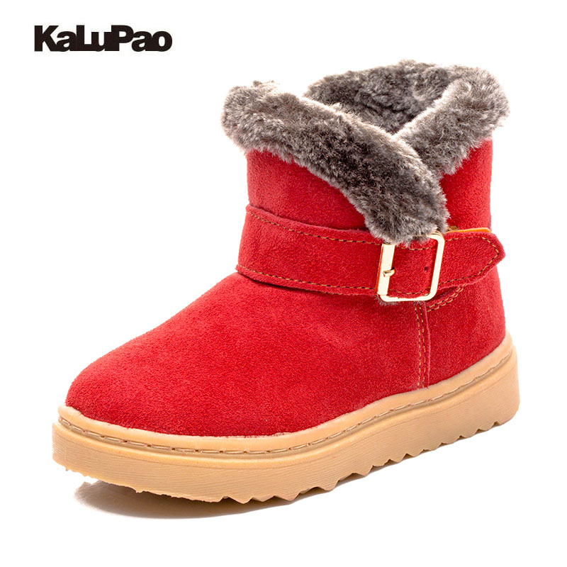 Anti-slippery waterproof girls snow boots kids warm ankle boots Winter children new shoes high quality fur inside flat rubber