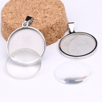 Onwear 10pcs Stainless Steel Bezels 25mm Dia Cabochon Settings Rhodium Color Cameo Pendant Base Trays With