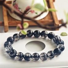 Genuine Natural Black Rutilated Quartz Crystal Women Men 10mm Clear Round Beads Wealthy Stone Bracelet From Brazil AAAAA
