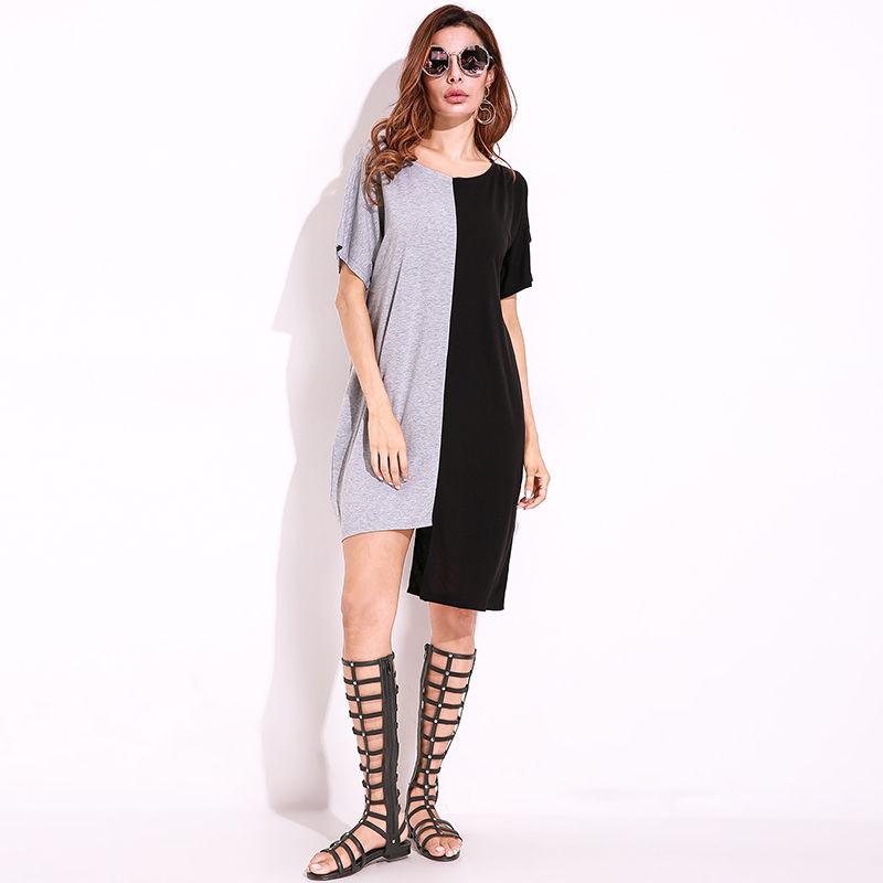 acfc2caf0915c US $16.91 |2018 Summer Hot Sale Crew O Neck Shift DressPlus Size Short  Dresses Women Casual Short Sleeve Mini Dress Color Block Loose Sexy-in  Dresses ...