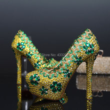 2016 Spring Rhinestones Wedding Shoes Woman Platform High Heels Bridal Shoes Flower Crystal Party Dress Pumps Plus Size EU42