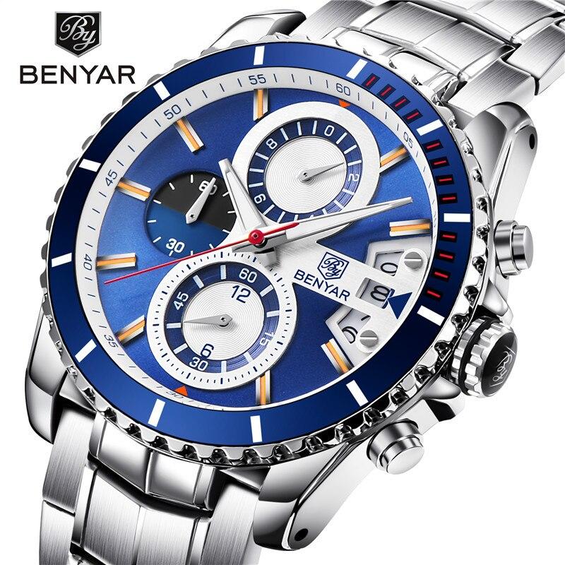 лучшая цена BENYAR Luxury Mens Watch Top Brand High Quality Male Sports Quartz Watches Stainless Steel Waterproof Timing Men's Clock Relogio