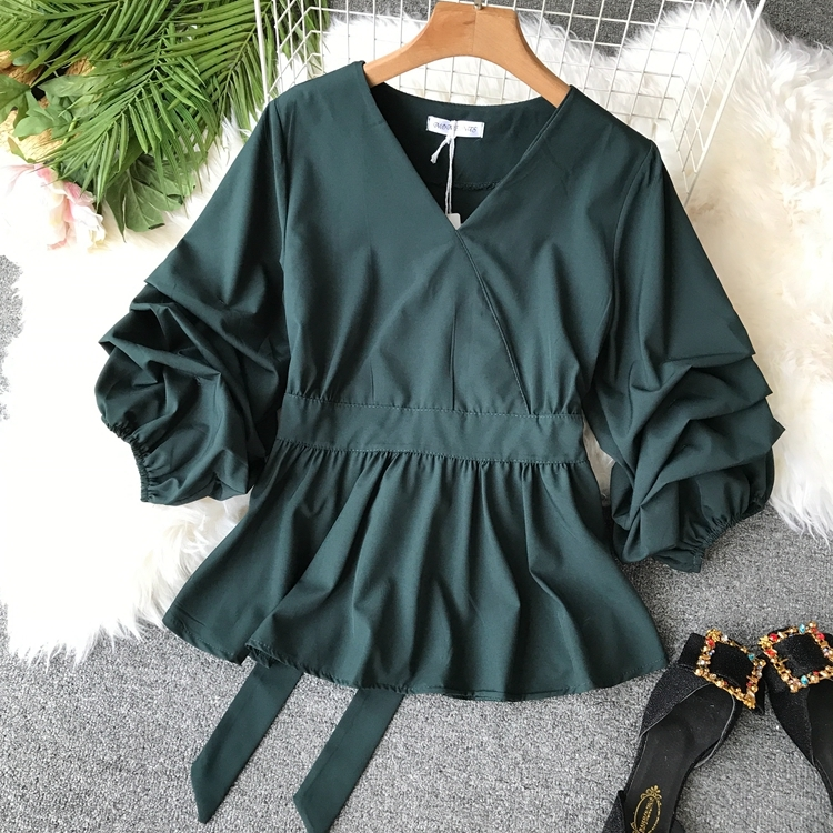 2109 Spring Women V-neck Puff Sleeves Blouse Slim Tunic Tops Retro Vintage Pullovers Busos Para Mujer Kimonos 103