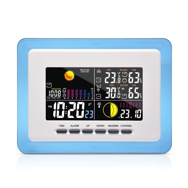 DYKIE Station météo numérique sans fil bleu cadre Transparent rétro-éclairage Double réveil température humidité transmetteur