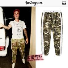 216061ec666 New 2018 Justin Bieber men s clothing White edge retro camouflage Lounge Pants  trousers plus size stage