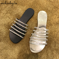 Bling Summer Glitter Slides Womens Leather Flat Sandal 2017 Women Crystal Flip Flops Escarpins Sexy