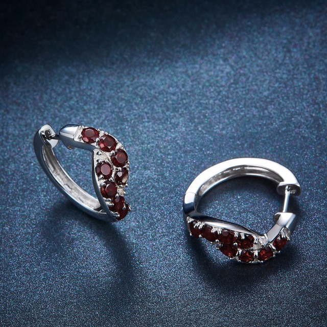 Hutang Hoop Earrings 2.24ct Natural Gemstone Red Garnet 925 Sterling Silver Fine Fashion Elegant Jewelry for Women Best Gift New