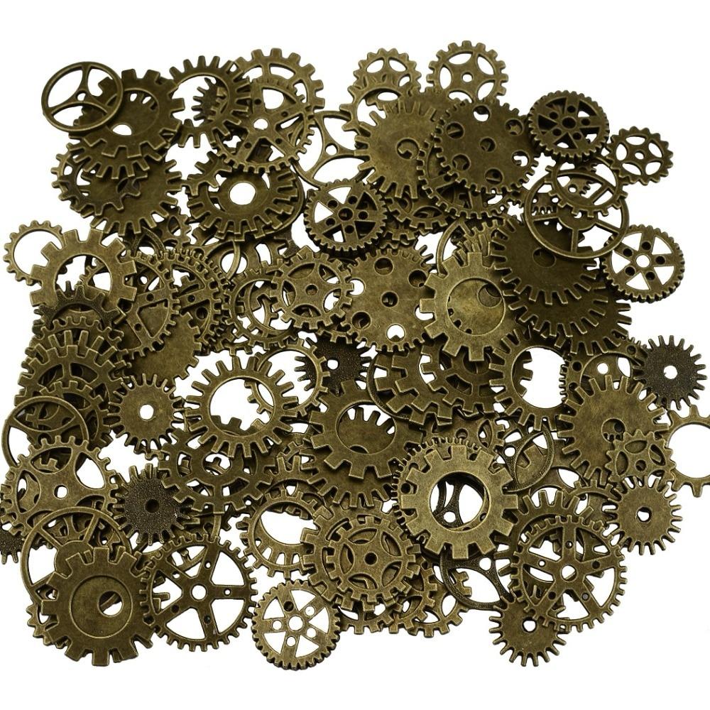 10//50 Mix Style Antique Bronze//Silver Alloy Clock Wheel Gear Pendant Charms