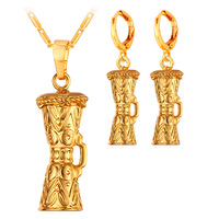 Yellow Gold Plated KUNDU Drum Pendant Necklace Earrings Indian Jewelry Sets For Women Papua New Guinea