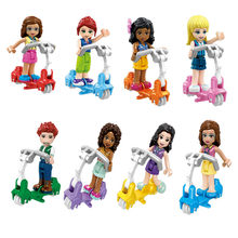 Girls Princess Series Heart Lake City Girls Scooter Legoings Model Building Blocks Friends for Girl Toys 4pcs/Set(China)