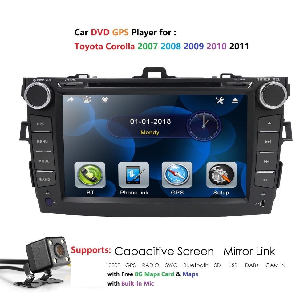 Hizpo MP5 DVD Multimedia-Player Toyota Corolla Autoradio Bluetooth 2din for USB Car 8''