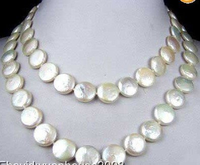 Beautiful good 11-13mm white coin pearl necklace  18K.  Free Shipping.