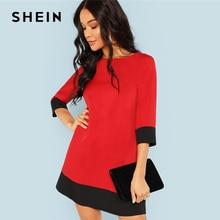 SHEIN الأحمر التباين فستان تونك ملابس عمال كولوربلوك 3/4 كم فساتين قصيرة المرأة الخريف أنيقة مستقيم فساتين صغيرة