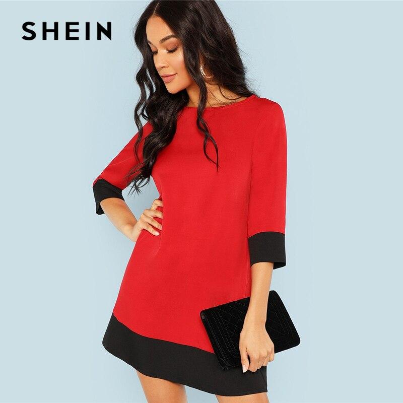SHEIN Rot Kontrast Trim Tunika Kleid Arbeitskleidung Colorblock 3/4 Hülse Kurze Kleider Frauen Herbst Elegante Gerade Mini Kleider