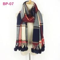 Original brand tartan cashmere 100% acrylic warm comfortable women ladies wrap rabbit fur pom pom scarfs