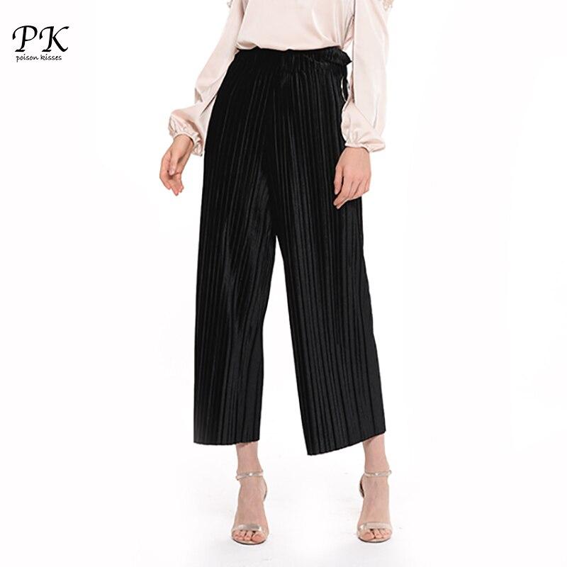 PK Velvet   Pants     Capris   Ladies Black Loose Wide Leg   Pant   Casual High Waist Bottom Female Fashion Office Wear Trousers Women