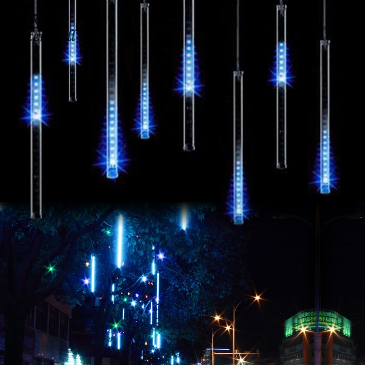 US Plug 30CM Led Meteor Shower Rain Tube Light Holiday Christmas LED Lights Wedding Garden Tree Decoration Lamp 100-240V Blue 34