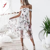 FEITONG Female Dresses Fashion Women Spring Summer Off Shoulder Floral Printed Mid Calf Dress Casual Slash