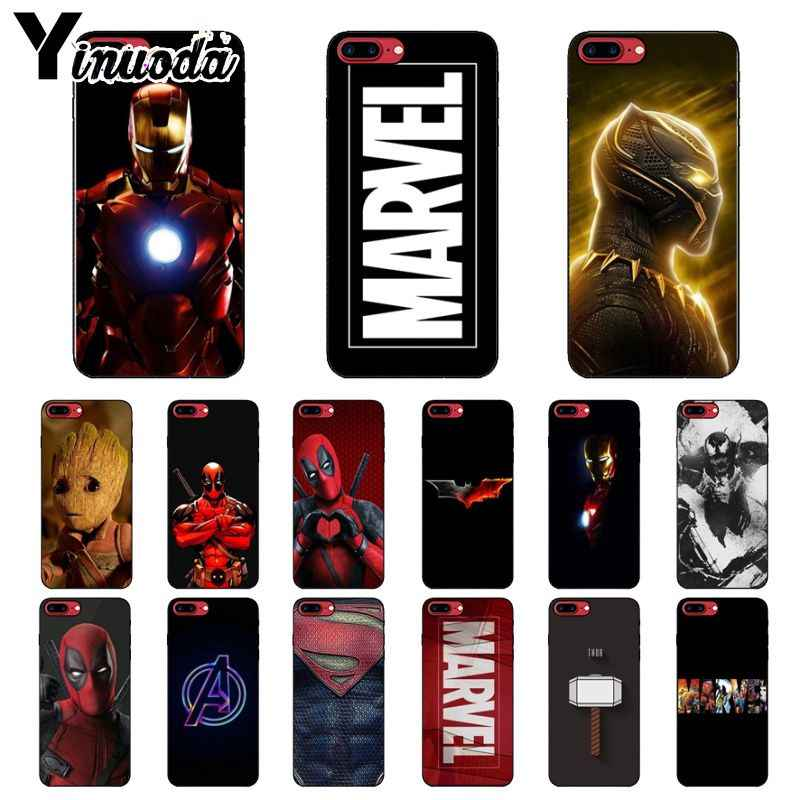 Yinuoda Deadpool Marvel Avengers Homem De Ferro tampa da Caixa Do Telefone Shell para o iPhone Da Apple 8 7 6 6 S Plus X XS MAX 5 5S SE XR Celulares