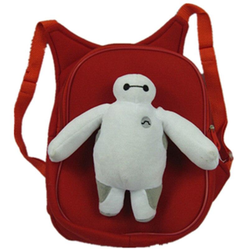 Cartoon Big Hero white robot Warm man School bag Child kid backpack Plush winter warm Knitting Beanies caps