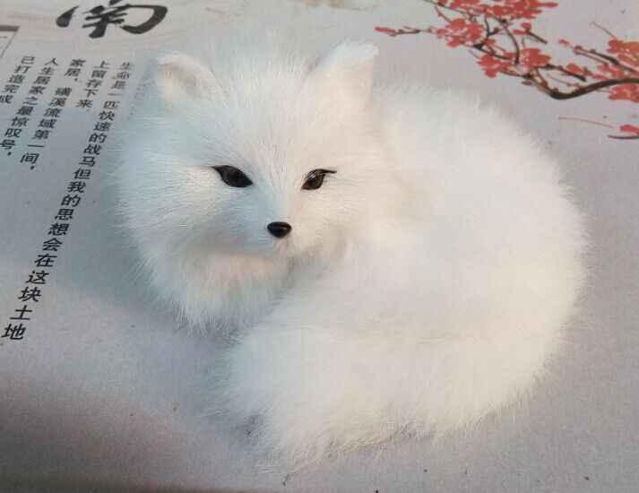 Piccolo carino simulazione white fox toy bella fox volpe regalo bambola circa 13x9x12 cm