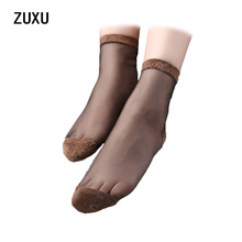 2017 Glitter Mesh Women Socks Fashion Silk Female Short Socks Shiny Harajuku Soft Ladies Funny Socks Transparent Elastic Hosiery