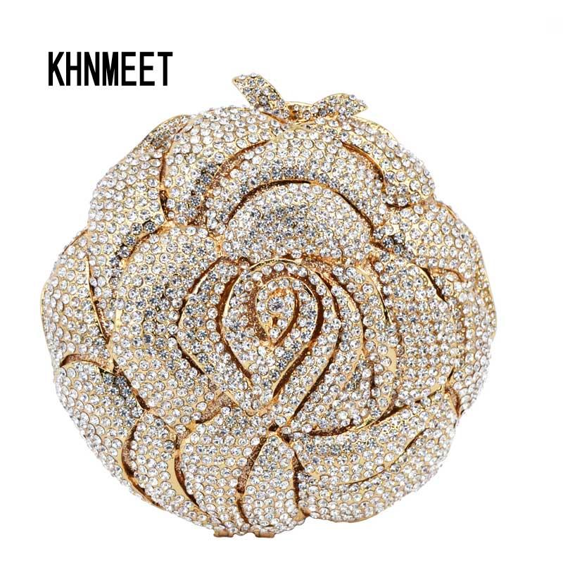 gold rose flower shape luxury evening bags crystal clutch bag women wedding pochette bride. Black Bedroom Furniture Sets. Home Design Ideas