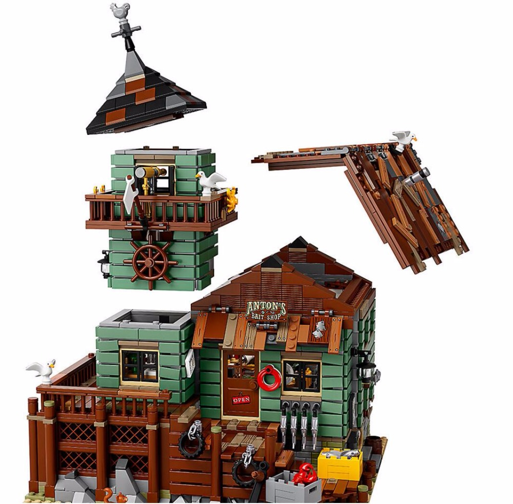 16050 Creative Ideas City Series Seaside Old Fishing Store Building Block Bricks Toys Kids Gifts Compatible 21310 hot city series aviation private aircraft lepins building block crew passenger figures airplane cars bricks toys for kids gifts