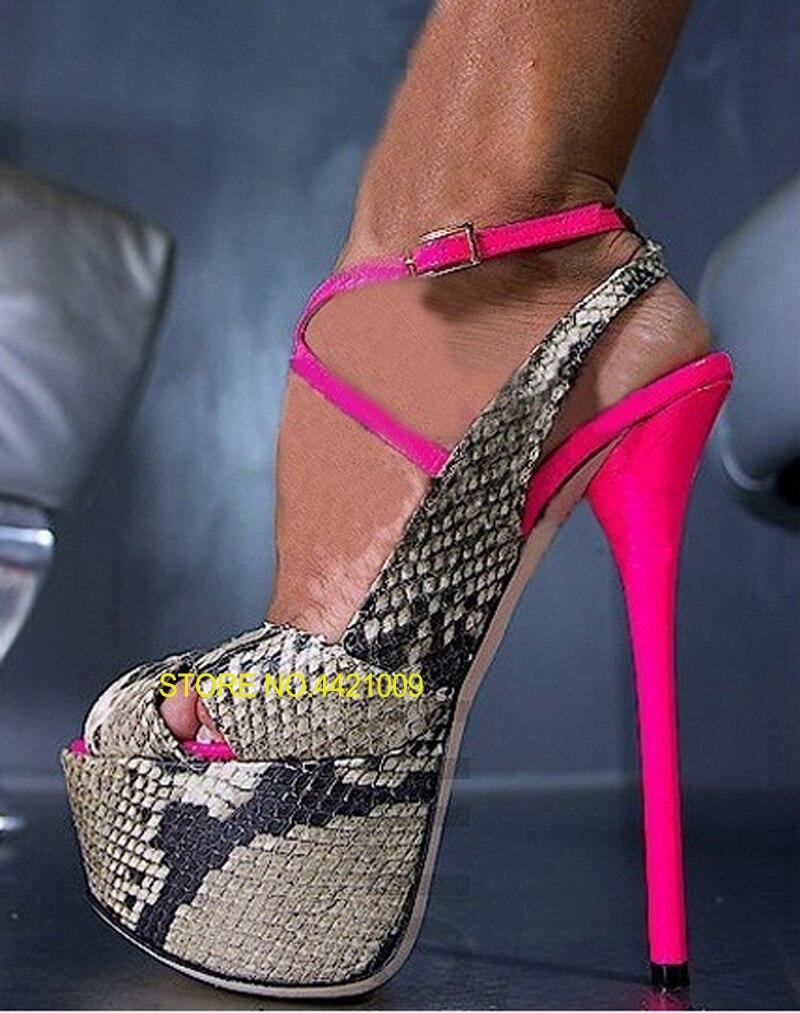 Formelle Robe Chaussures D'été Femmes Sexy Nouvelle Mode À Bout Ouvert Serpent En Cuir de Haute Plate-Forme Sandales Cheville Sangle Croix À Talons Hauts pompes