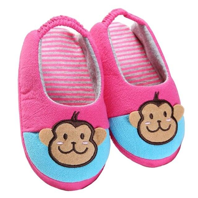 1f503d1603f89 Enfant en bas âge bébé filles pantoufles pour enfants chaussures mignon  dessin animé singe intérieur maison