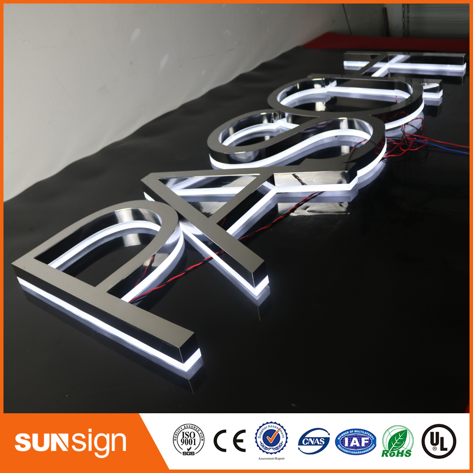 Gold Color Backlit Letters Logo Sign Stainless Steel Signage Letters LED 3D Illuminated Letters Signs For Outdoor Advertising