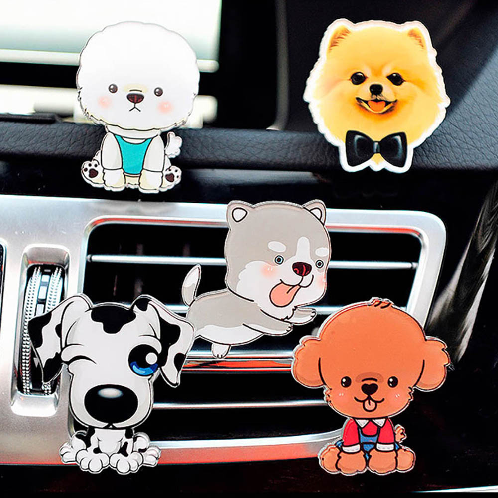 Car Ornament Cute Puppy Pet Dog Auto Air Conditioner Outlet Decoration Perfume Clip Air Freshener Automobile Tuyere Fragrance