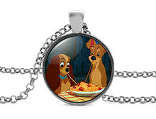 New Fashion Lady And The Tramp Necklace Colar Dogs Pendant Vintage Anime Jewelry Link Chain Glass Cabochon Photo Necklaces