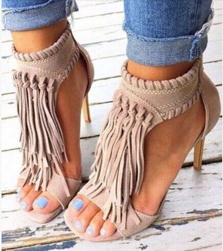 Здесь можно купить   Big size 43 suede sandals solid color tassels stiletto heels ankle wrap black/nude open toe dress sandals fringed summer heels Обувь