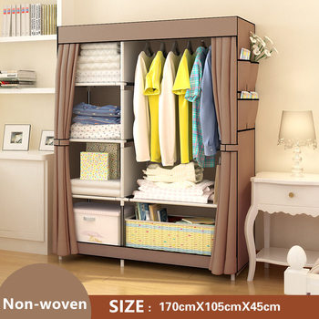 цена на FREE shipping Non-woven Wardrobe Closet Large And Medium-sized Cabinets Simple Folding Reinforcement Receive Stowed Clothes