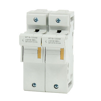 RT18-125AM AC 690V 125A DIN Rail Mount 58mmx22mm 2P 2 Poles Fuse Holder