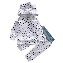 Hot Autumn 2pcs Lovely Dot Set Infant Baby Kids Boys Girls Outfit Ear Hoodie Long Sleeve Tops Pants Sportswear Active Costume