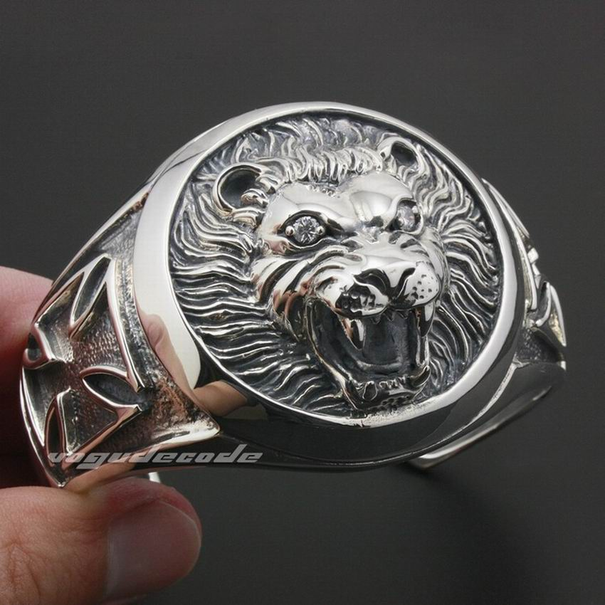 Huge Heavy Lion Knight King Cross 925 Sterling Silver Mens Bracelet Bangle 9A003