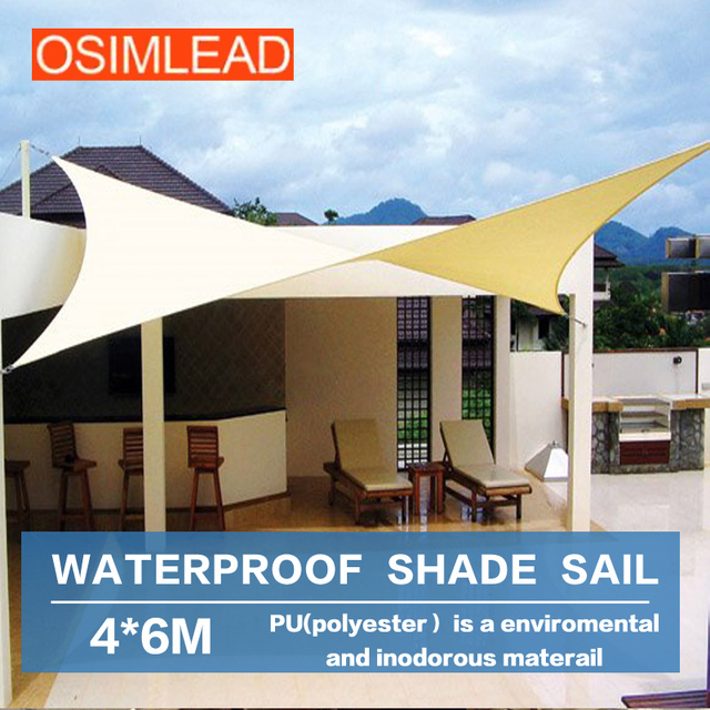 OSIMLEAD 4*6 M Waterproof PU Coated Sun Shade Sail RECTANGLE CANOPY COVER    OUTDOOR