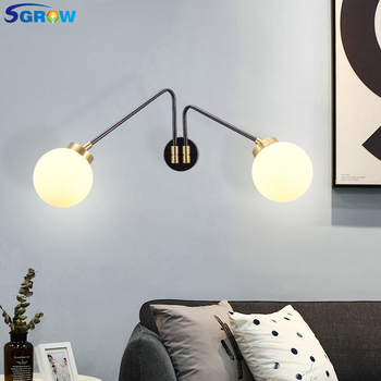 SGROW Single Head 2 Heads Glass Ball Lampshade Wall Lamp Iron Frosted Indoor Lighting Wall Sconce Light for Bedroom Dinning Room