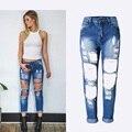 Jeans rasgado para as mulheres 2017 novo jeans boyfriend uwback textura das mulheres cintura alta buracos buracos das mulheres denim preto/branco calças tb984