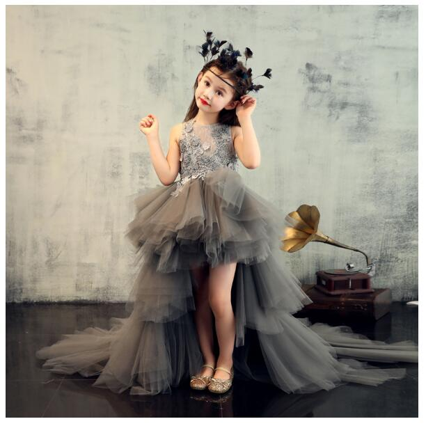 Girl's Wedding Formal Dresses 2018 Long Tailing Tiered Gauze Gowns Flowers Girls Princess Dress Kids Removable tutu Party Dress girls pageant formal dresses 2018 tailing floor length ball gowns flowers girls princess dress kids birthday party wedding dress