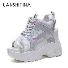 2019 Women Platform Sandals New Summer Breathable Mesh Sneakers 11CM Wedges Thick Bottom Sandals Comfortable Lace up Woman Shoes цены онлайн