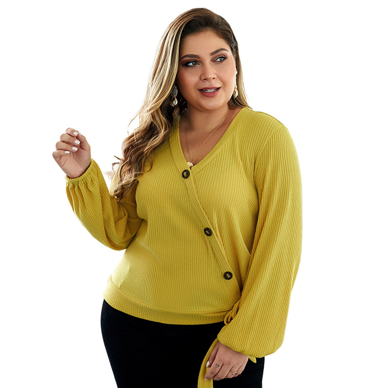 CHRLEISURE Large Size Woman Clothing Sweater 2019 Autumn Winter Warm V-neck Sweaters 4XL Sweater Oblique Button Big Size